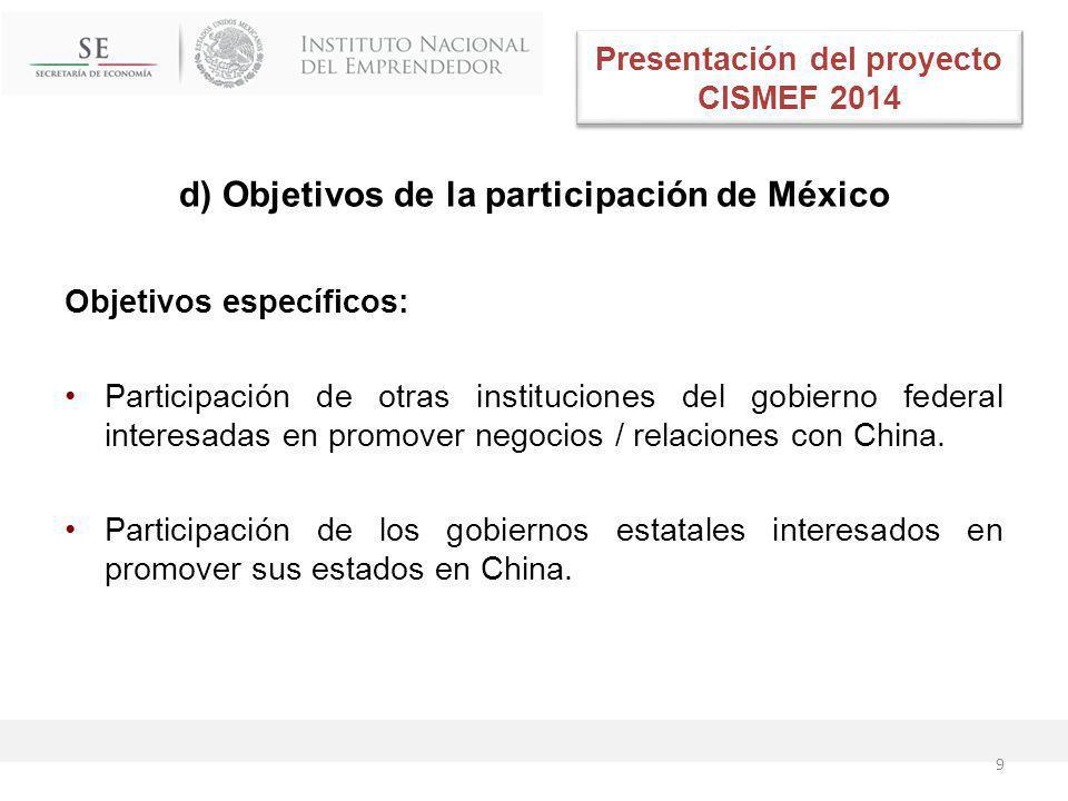 d) Objetivos de la participación de México Objetivos específicos: Participación de otras instituciones del gobierno federal interesadas en promover negocios / relaciones con China.
