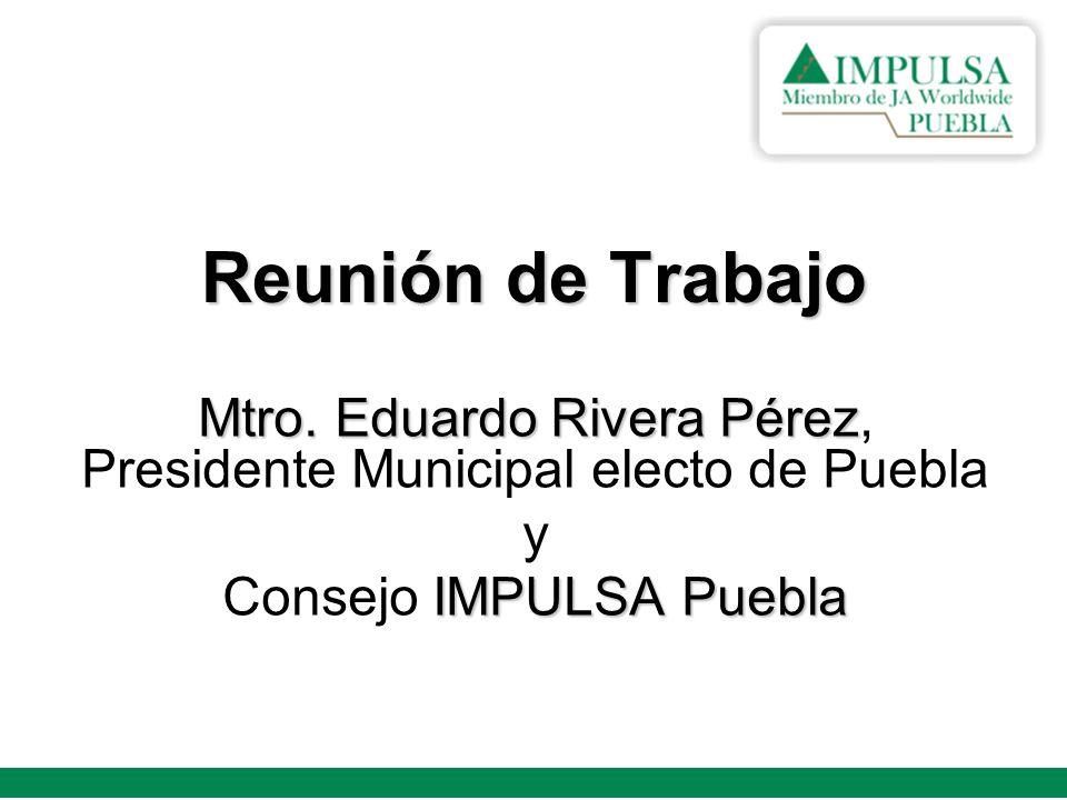 El pasado 12 de octubre, se llevó a cabo una reunión de trabajo entre el Presidente Municipal Electo de Puebla; Mtro.