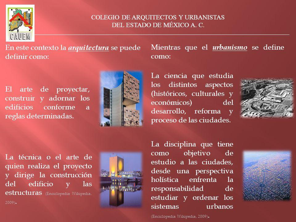 El arte de proyectar, construir y adornar los edificios conforme a reglas determinadas.
