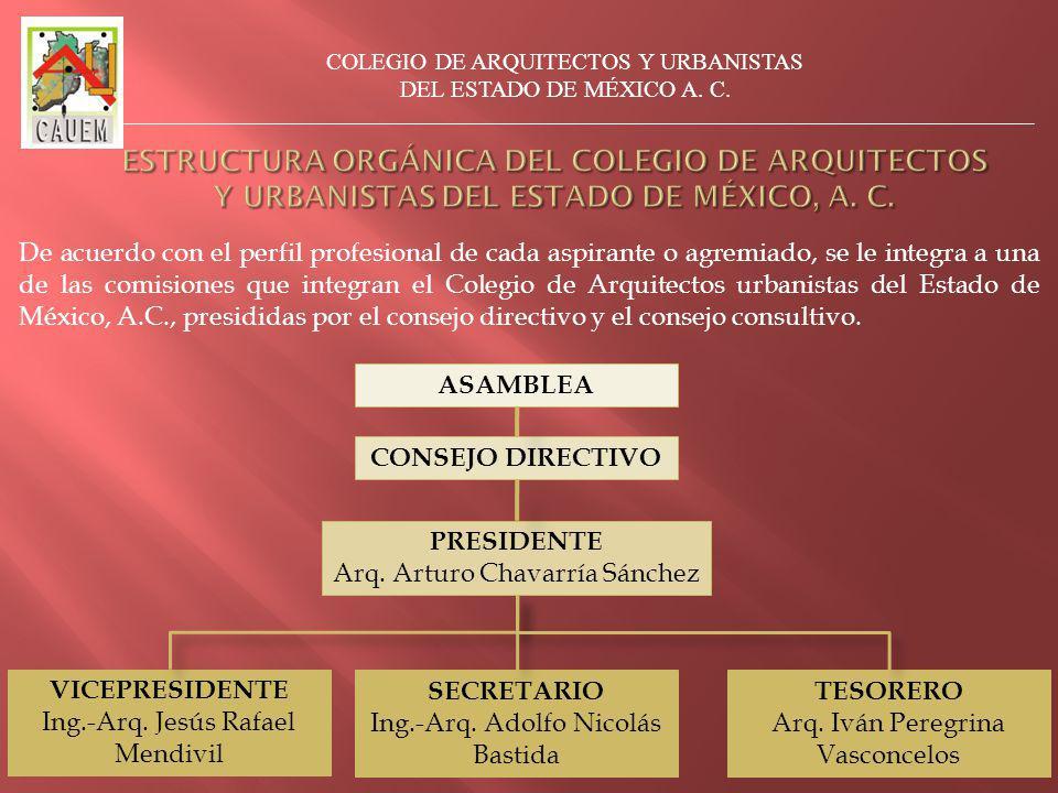 De acuerdo con el perfil profesional de cada aspirante o agremiado, se le integra a una de las comisiones que integran el Colegio de Arquitectos urbanistas del Estado de México, A.C., presididas por el consejo directivo y el consejo consultivo.