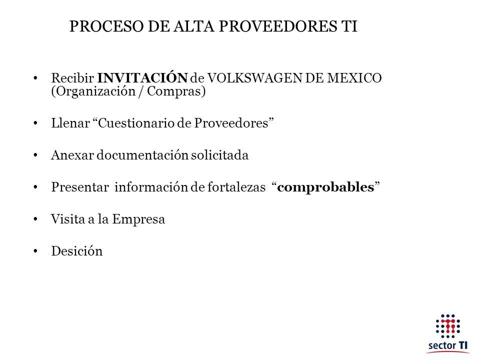 PROCESO DE ALTA PROVEEDORES TI Recibir INVITACIÓN de VOLKSWAGEN DE MEXICO (Organización / Compras) Llenar Cuestionario de Proveedores Anexar documenta