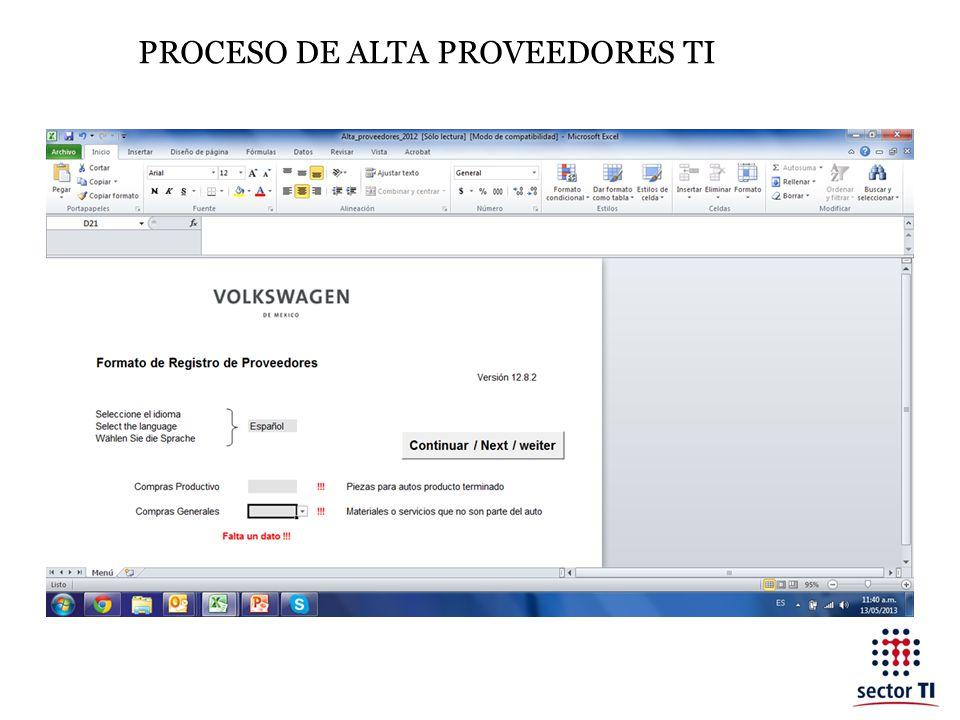 PROCESO DE ALTA PROVEEDORES TI