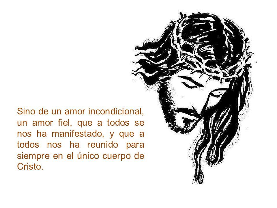 Sino de un amor incondicional, un amor fiel, que a todos se nos ha manifestado, y que a todos nos ha reunido para siempre en el único cuerpo de Cristo.