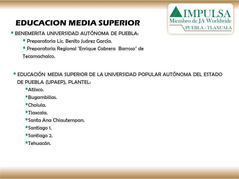 BENEMERITA UNIVERSIDAD AUTÓNOMA DE PUEBLA: Preparatoria Lic. Benito Juárez García. Preparatoria Regional