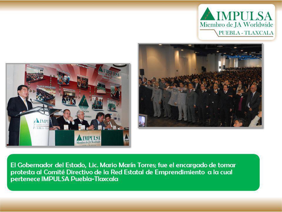 El Gobernador del Estado, Lic. Mario Marín Torres; fue el encargado de tomar protesta al Comité Directivo de la Red Estatal de Emprendimiento a la cua