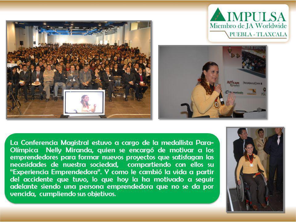 La Conferencia Magistral estuvo a cargo de la medallista Para- Olímpica Nelly Miranda, quien se encargó de motivar a los emprendedores para formar nue