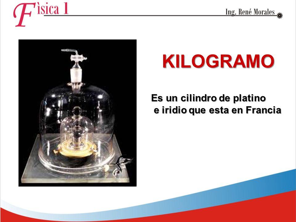 KILOGRAMO Es un cilindro de platino e iridio que esta en Francia e iridio que esta en Francia