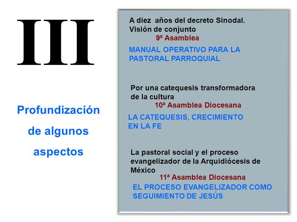 9ª Asamblea 10ª Asamblea Diocesana 11ª Asamblea Diocesana La pastoral social y el proceso evangelizador de la Arquidiócesis de México A diez años del