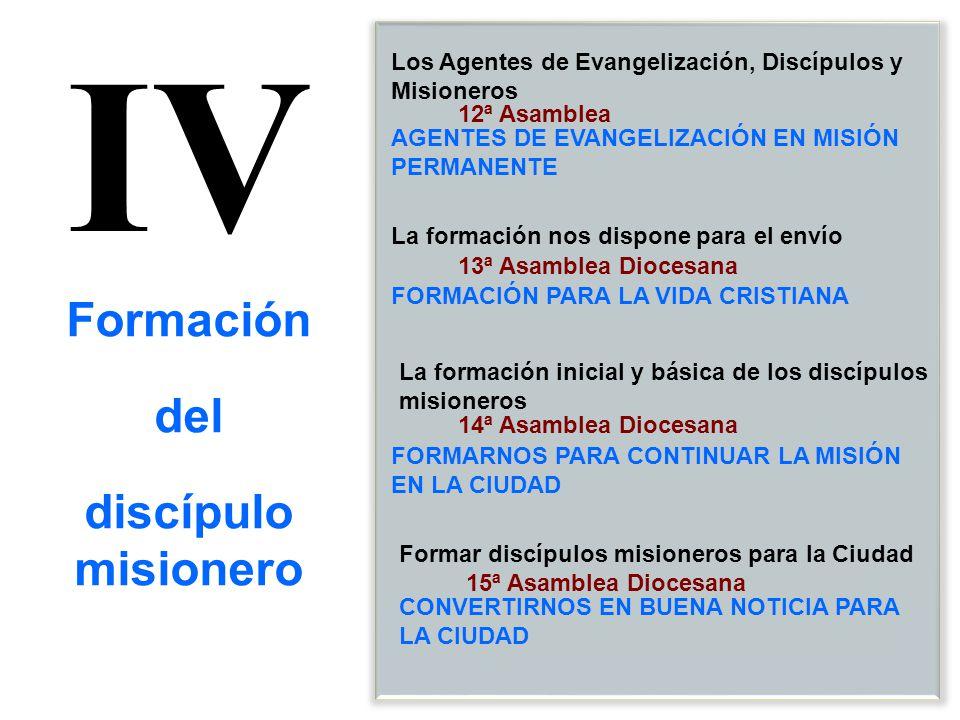 IV 12ª Asamblea 13ª Asamblea Diocesana 14ª Asamblea Diocesana La formación inicial y básica de los discípulos misioneros Los Agentes de Evangelización