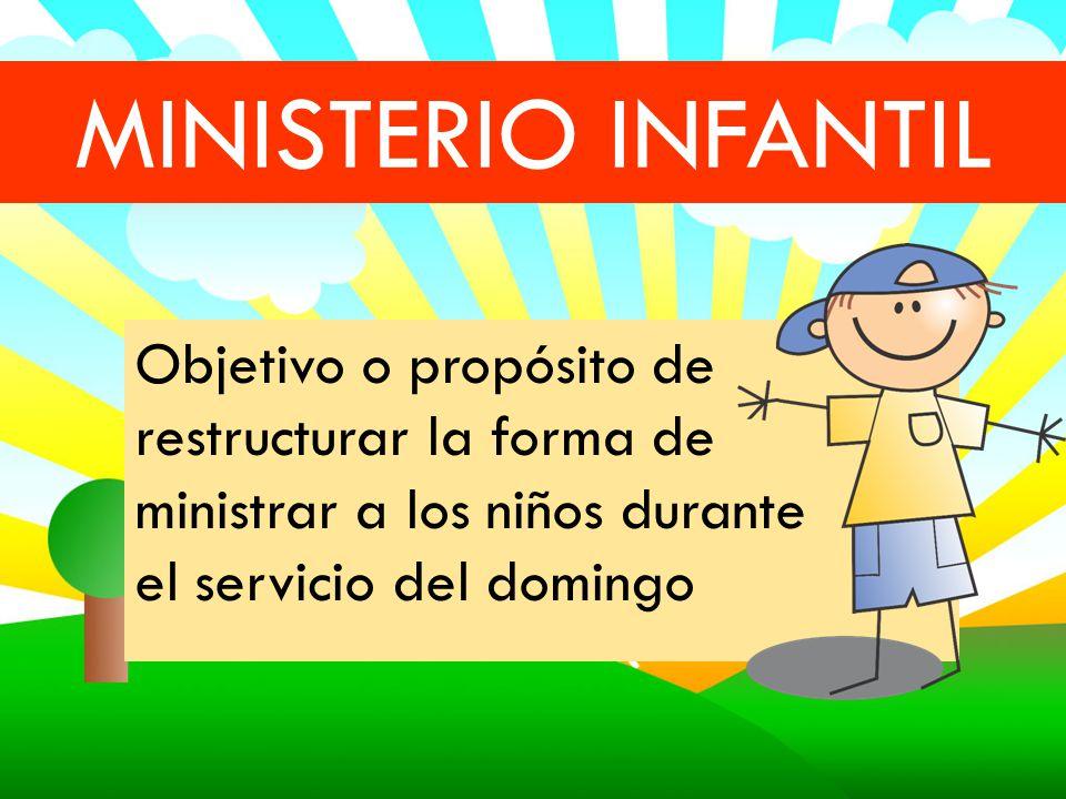 MINISTERIO INFANTIL Objetivo o propósito de restructurar la forma de ministrar a los niños durante el servicio del domingo