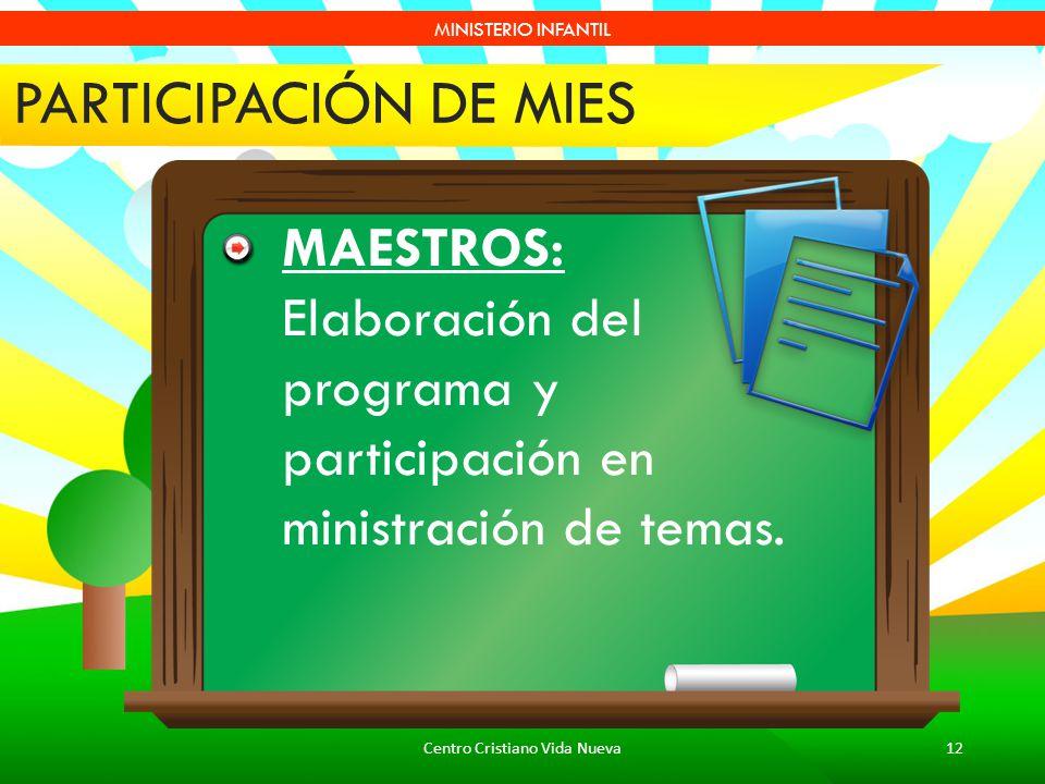 Centro Cristiano Vida Nueva12 MINISTERIO INFANTIL PARTICIPACIÓN DE MIES MAESTROS: Elaboración del programa y participación en ministración de temas.