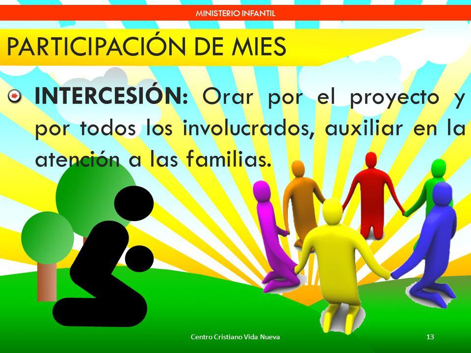 Centro Cristiano Vida Nueva13 MINISTERIO INFANTIL PARTICIPACIÓN DE MIES INTERCESIÓN: Orar por el proyecto y por todos los involucrados, auxiliar en la