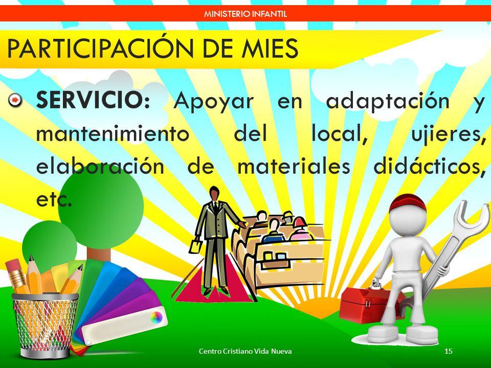 Centro Cristiano Vida Nueva15 MINISTERIO INFANTIL PARTICIPACIÓN DE MIES SERVICIO: Apoyar en adaptación y mantenimiento del local, ujieres, elaboración