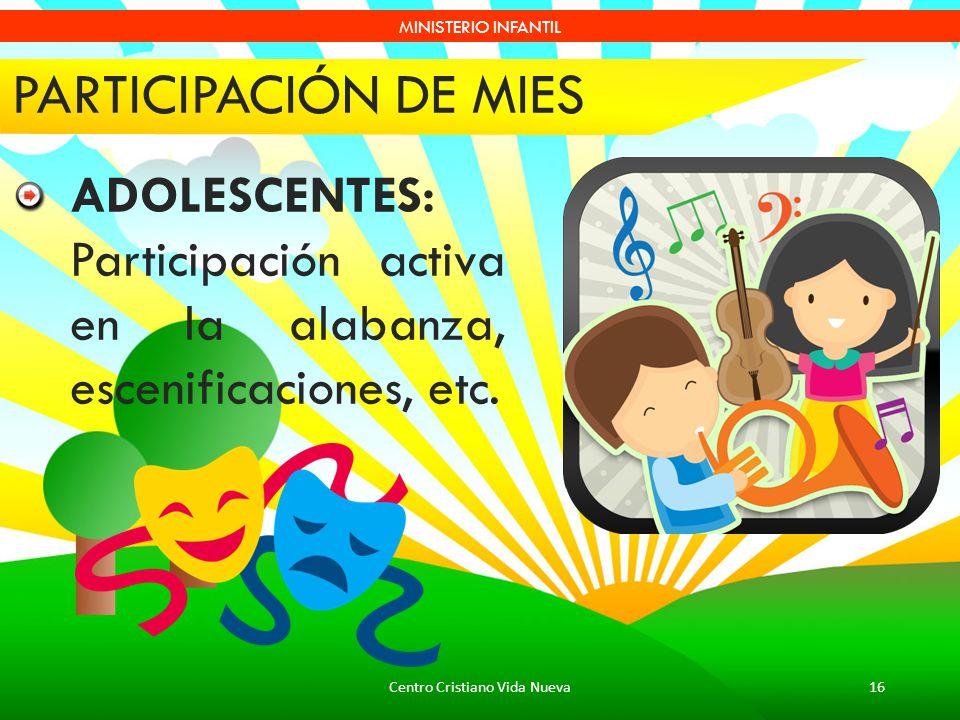 Centro Cristiano Vida Nueva16 MINISTERIO INFANTIL PARTICIPACIÓN DE MIES ADOLESCENTES: Participación activa en la alabanza, escenificaciones, etc.