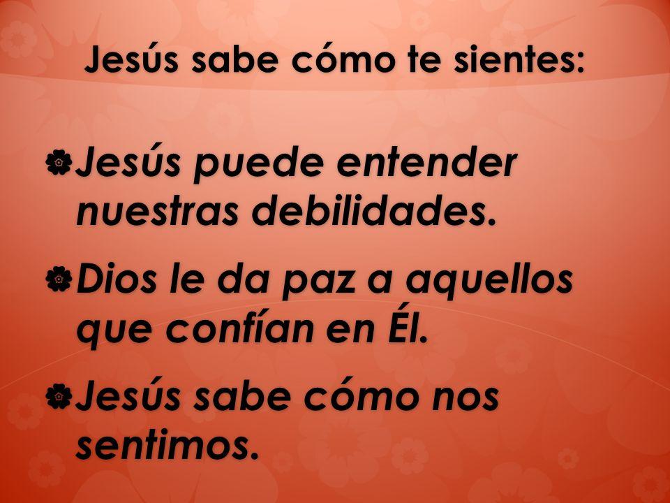 Jesús sabe cómo te sientes: Jesús puede entender nuestras debilidades. Jesús puede entender nuestras debilidades. Dios le da paz a aquellos que confía