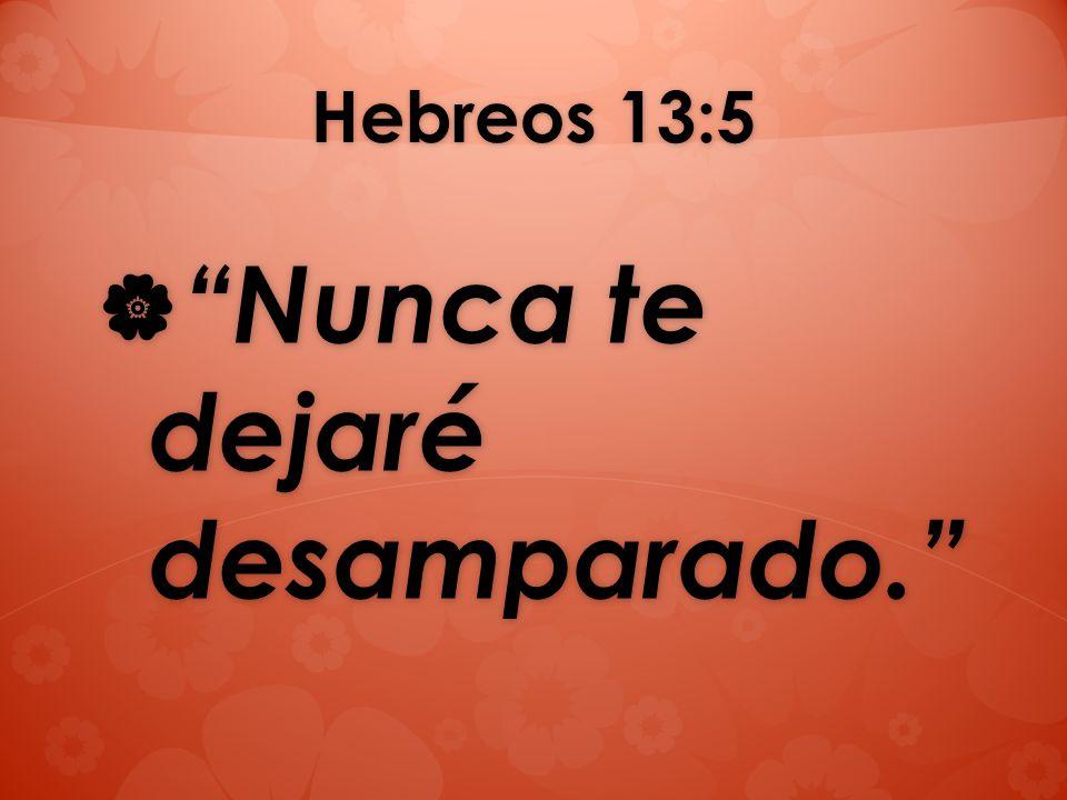 Hebreos 13:5 Nunca te dejaré desamparado. Nunca te dejaré desamparado.