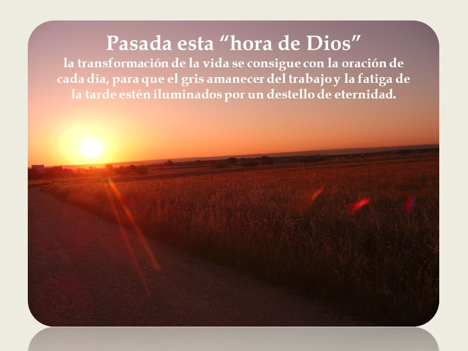 La oración practicada de forma regular, prepara el terreno para las horas cumbres de la oración; las horas en las que Dios sale de repente a nuestro encuentro y nos sugiere una palabra al oído que decide toda una etapa de nuestra vida.