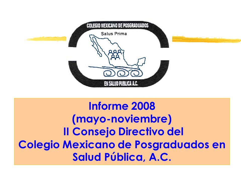 Informe 2008 (mayo-noviembre) II Consejo Directivo del Colegio Mexicano de Posgraduados en Salud Pública, A.C.