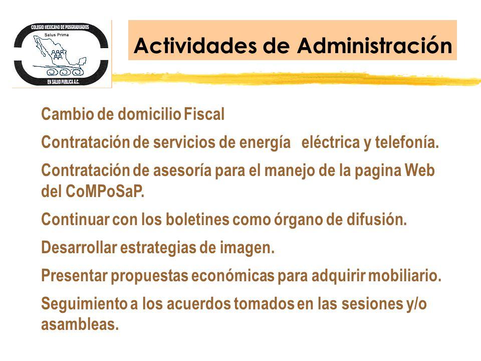 Actividades de Administración Cambio de domicilio Fiscal Contratación de servicios de energía eléctrica y telefonía. Contratación de asesoría para el
