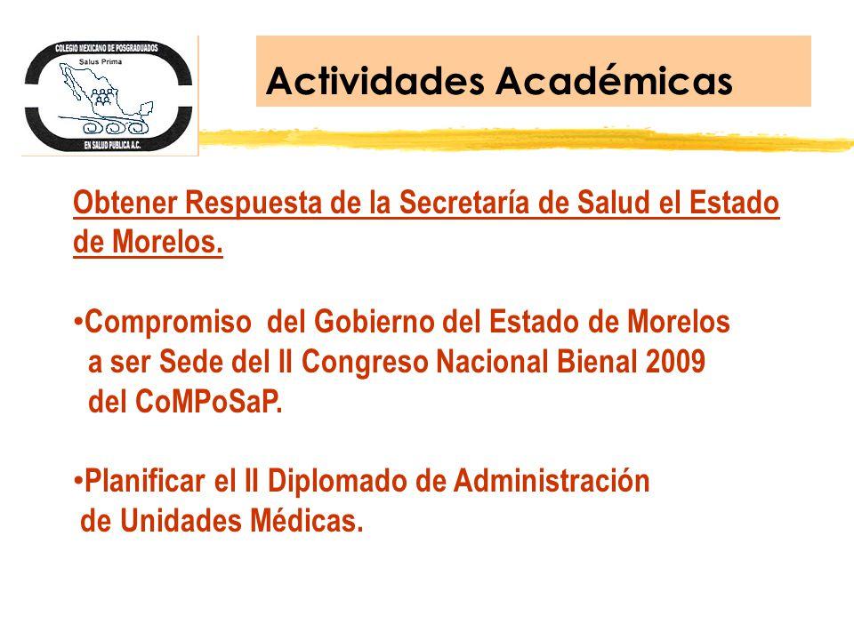 Actividades Académicas Obtener Respuesta de la Secretaría de Salud el Estado de Morelos. Compromiso del Gobierno del Estado de Morelos a ser Sede del