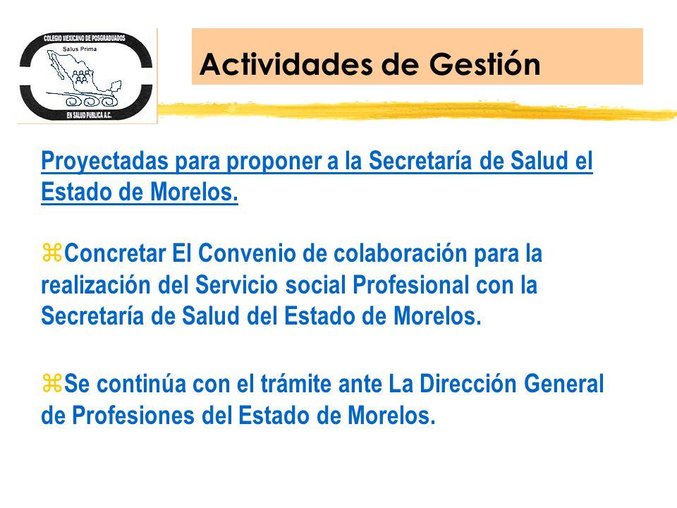 Proyectadas para proponer a la Secretaría de Salud el Estado de Morelos. z Concretar El Convenio de colaboración para la realización del Servicio soci
