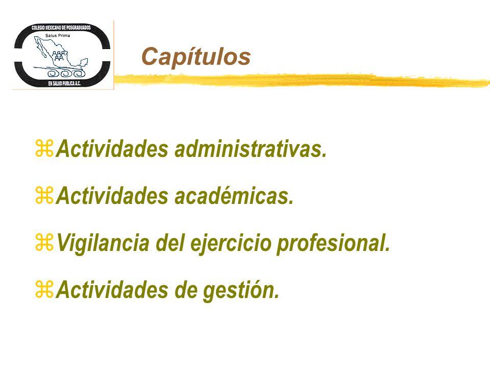 Capítulos z Actividades administrativas. z Actividades académicas. z Vigilancia del ejercicio profesional. z Actividades de gestión.