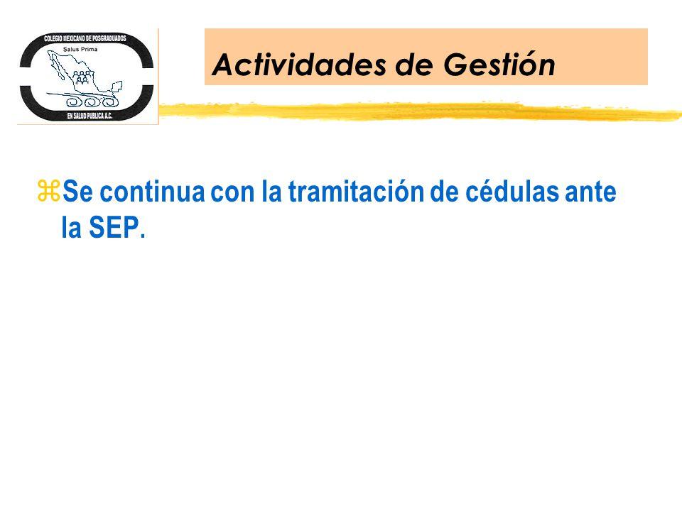 Actividades de Gestión z Se continua con la tramitación de cédulas ante la SEP.