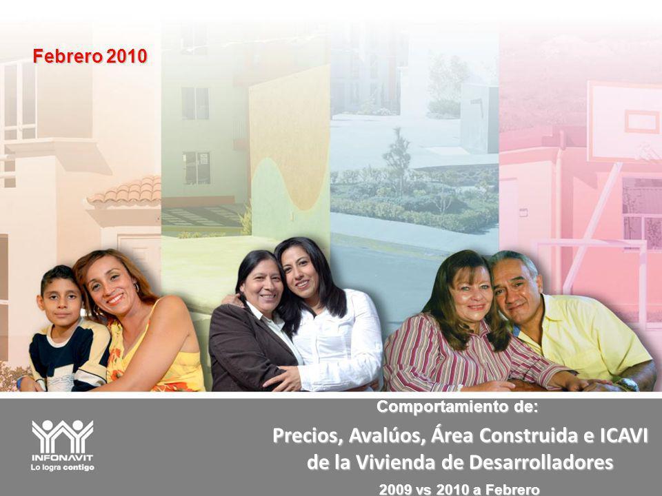Precios, Avalúos, Área Construida e ICAVI de la Vivienda de Desarrolladores Febrero 2010 Comportamiento de: 2009 vs 2010 a Febrero