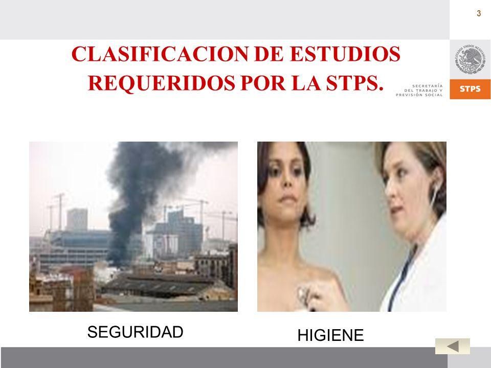 3 CLASIFICACION DE ESTUDIOS REQUERIDOS POR LA STPS. SEGURIDAD HIGIENE