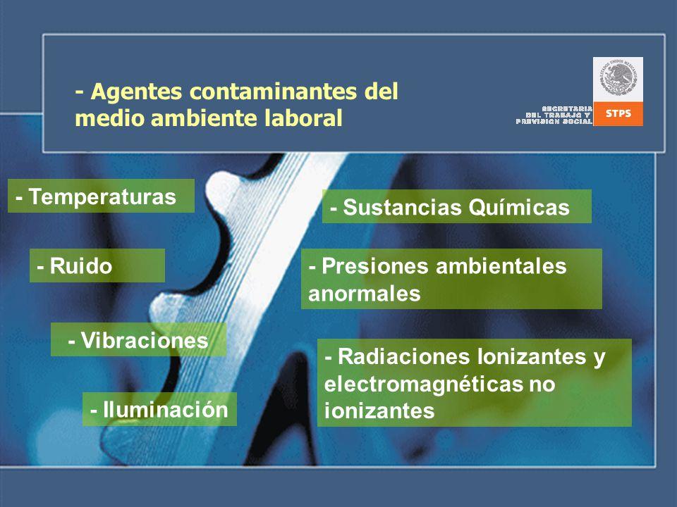 - Agentes contaminantes del medio ambiente laboral - Ruido - Sustancias Químicas - Temperaturas - Vibraciones - Iluminación - Presiones ambientales an