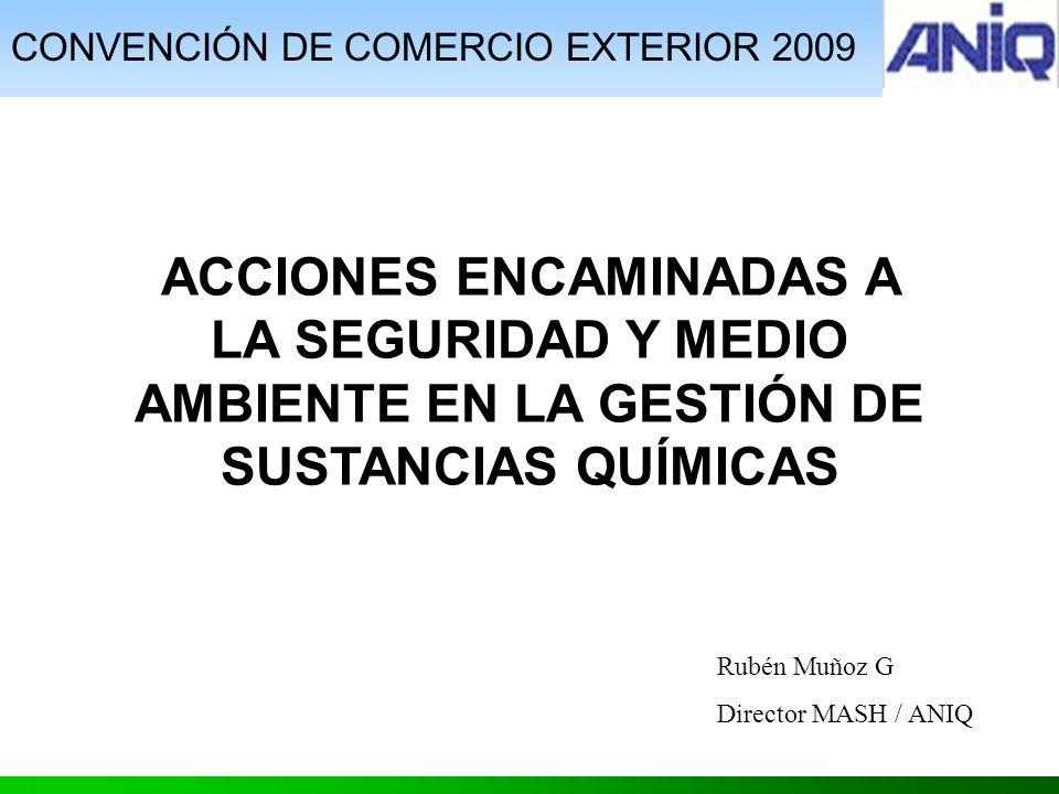 CONVENCIÓN DE COMERCIO EXTERIOR 2009 ACCIONES ENCAMINADAS A LA SEGURIDAD Y MEDIO AMBIENTE EN LA GESTIÓN DE SUSTANCIAS QUÍMICAS Rubén Muñoz G Director MASH / ANIQ
