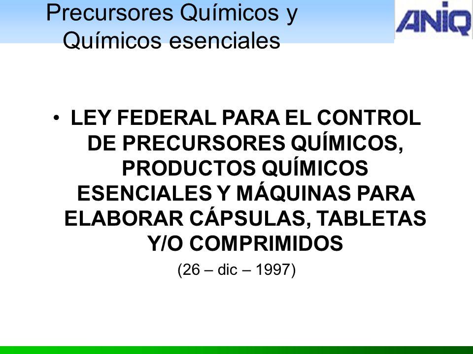 Precursores Químicos y Químicos esenciales LEY FEDERAL PARA EL CONTROL DE PRECURSORES QUÍMICOS, PRODUCTOS QUÍMICOS ESENCIALES Y MÁQUINAS PARA ELABORAR CÁPSULAS, TABLETAS Y/O COMPRIMIDOS (26 – dic – 1997)