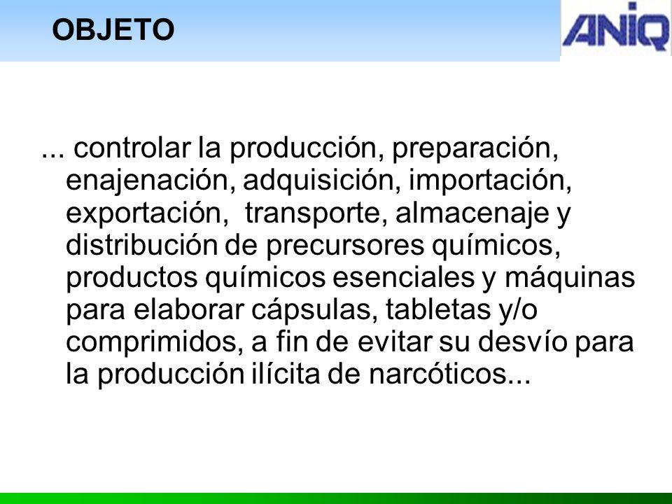 ... controlar la producción, preparación, enajenación, adquisición, importación, exportación, transporte, almacenaje y distribución de precursores quí