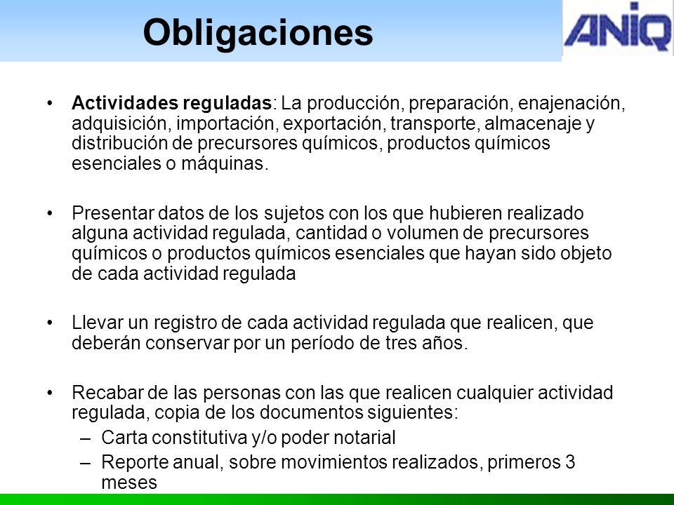 Obligaciones Actividades reguladas: La producción, preparación, enajenación, adquisición, importación, exportación, transporte, almacenaje y distribución de precursores químicos, productos químicos esenciales o máquinas.