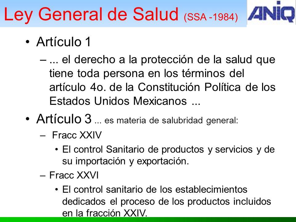 Ley General de Salud (SSA -1984) Artículo 1 –...