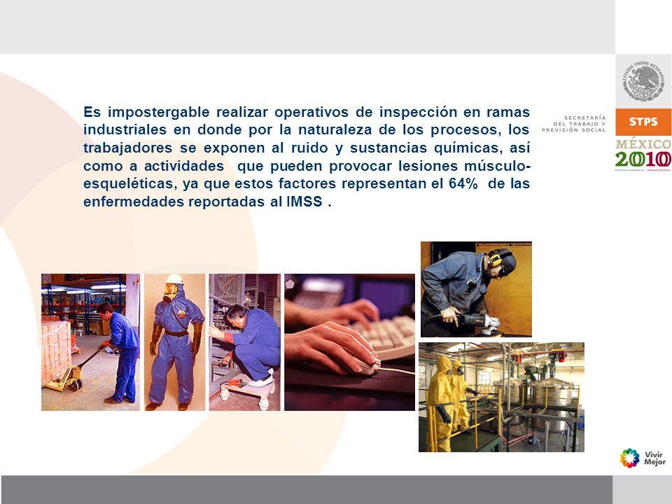 Es impostergable realizar operativos de inspección en ramas industriales en donde por la naturaleza de los procesos, los trabajadores se exponen al ru