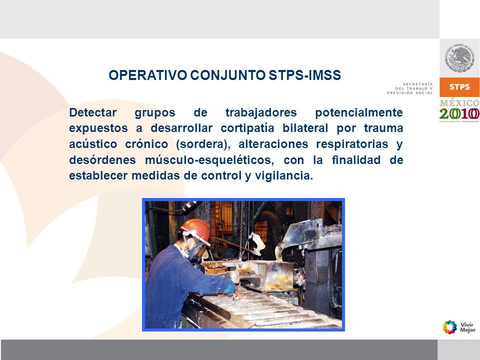 OPERATIVO CONJUNTO STPS-IMSS Detectar grupos de trabajadores potencialmente expuestos a desarrollar cortipatía bilateral por trauma acústico crónico (