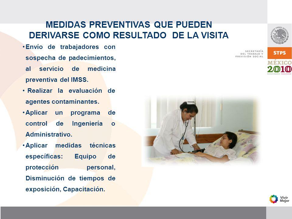 MEDIDAS PREVENTIVAS QUE PUEDEN DERIVARSE COMO RESULTADO DE LA VISITA Envío de trabajadores con sospecha de padecimientos, al servicio de medicina prev