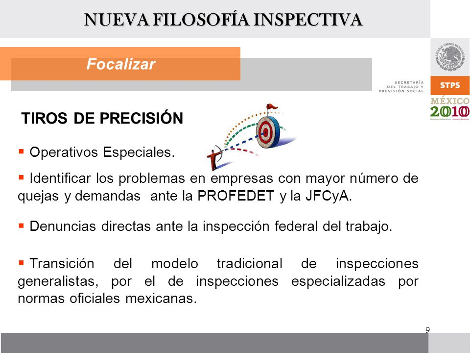 9 Focalizar TIROS DE PRECISIÓN Operativos Especiales. Identificar los problemas en empresas con mayor número de quejas y demandas ante la PROFEDET y l