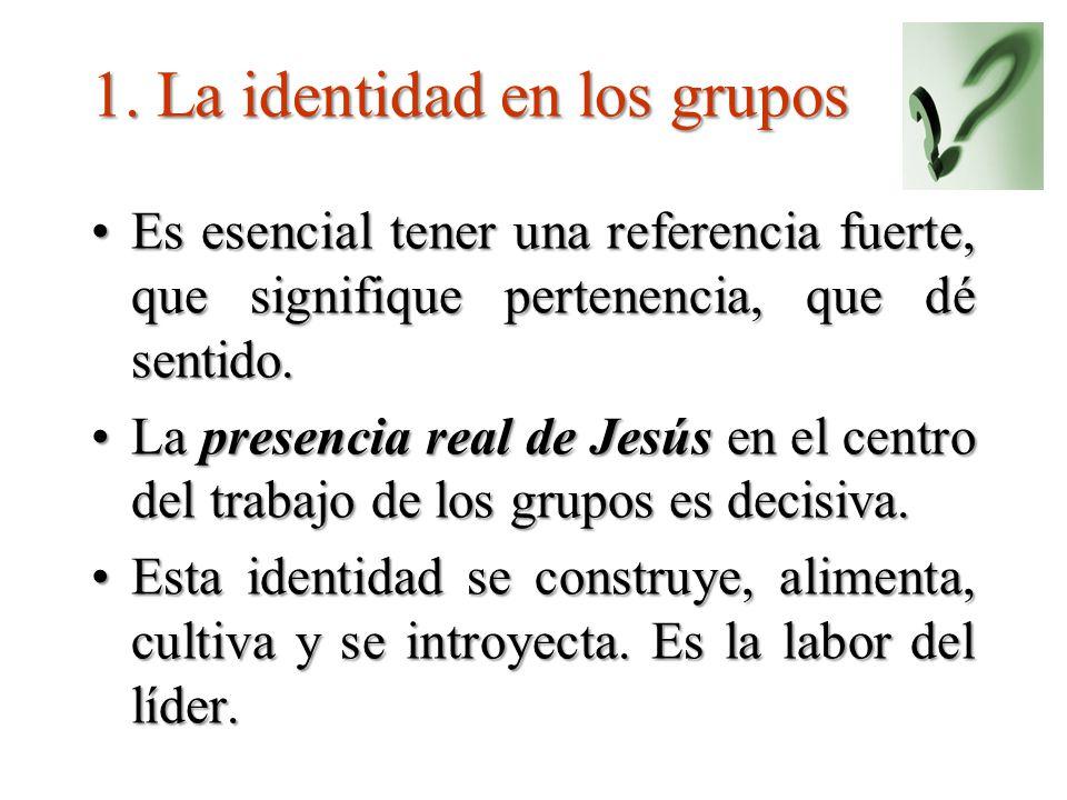 1. La identidad en los grupos Es esencial tener una referencia fuerte, que signifique pertenencia, que dé sentido.Es esencial tener una referencia fue