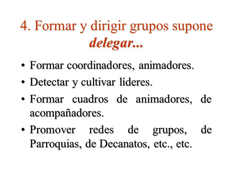 4.Formar y dirigir grupos supone delegar...