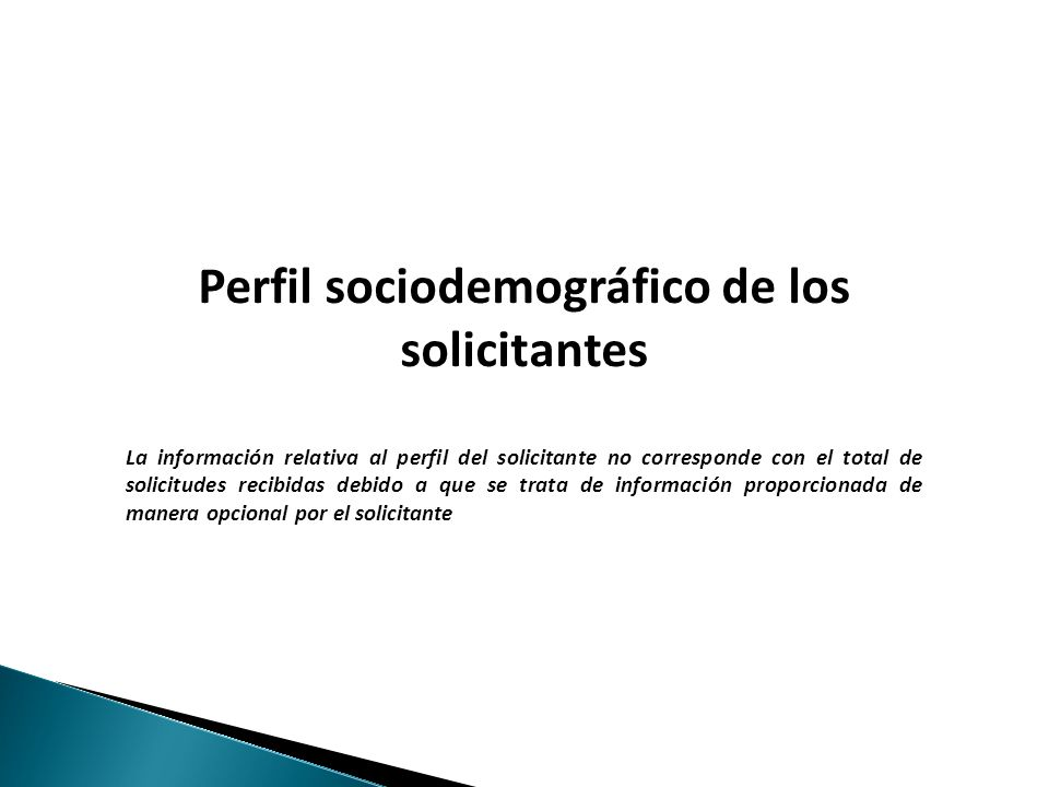 Haga clic para modificar el estilo de texto del patrón Perfil sociodemográfico de los solicitantes La información relativa al perfil del solicitante no corresponde con el total de solicitudes recibidas debido a que se trata de información proporcionada de manera opcional por el solicitante