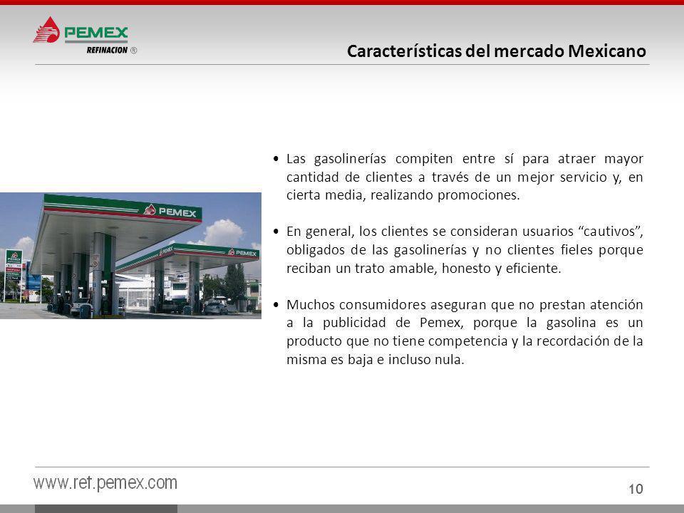 10 Características del mercado Mexicano Las gasolinerías compiten entre sí para atraer mayor cantidad de clientes a través de un mejor servicio y, en cierta media, realizando promociones.