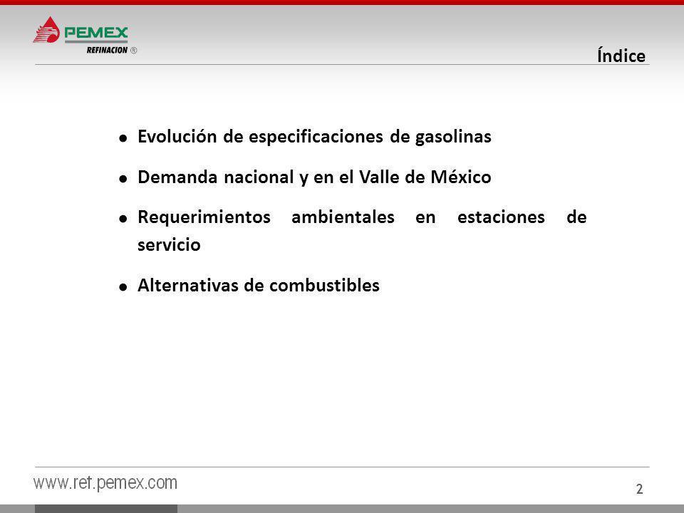 Evolución de especificaciones de gasolinas Demanda nacional y en el Valle de México Requerimientos ambientales en estaciones de servicio Alternativas de combustibles Índice 2