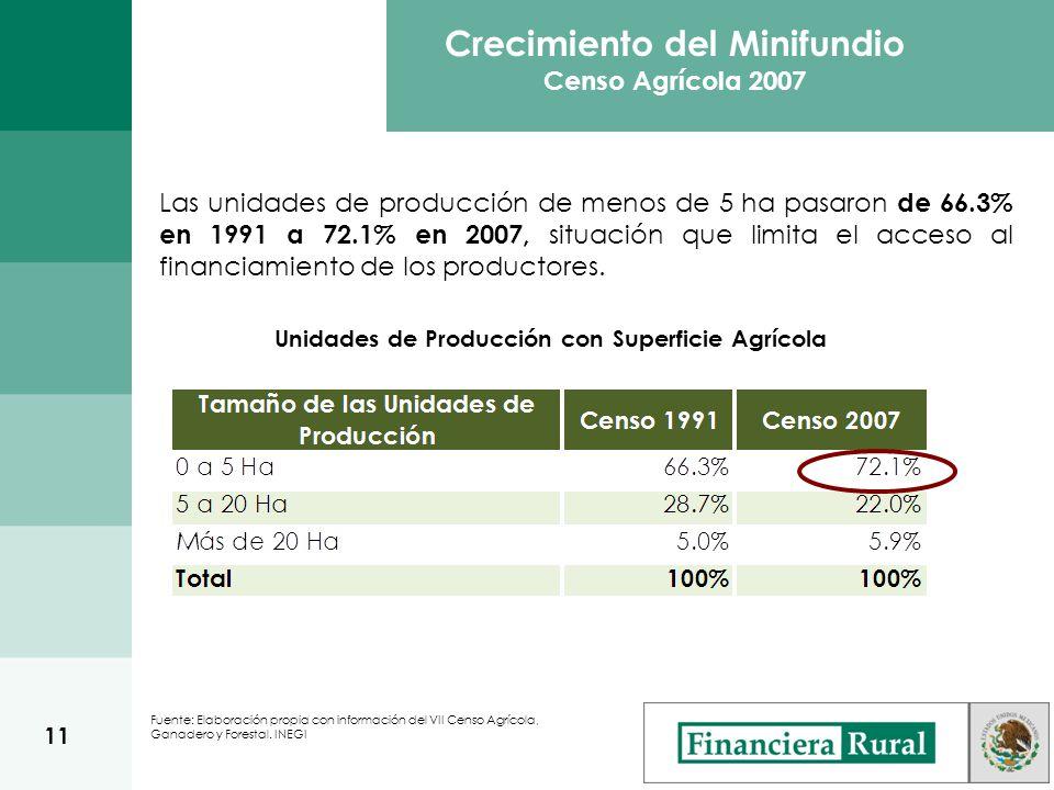 Crecimiento del Minifundio Censo Agrícola 2007 Fuente: Elaboración propia con información del VII Censo Agrícola, Ganadero y Forestal.