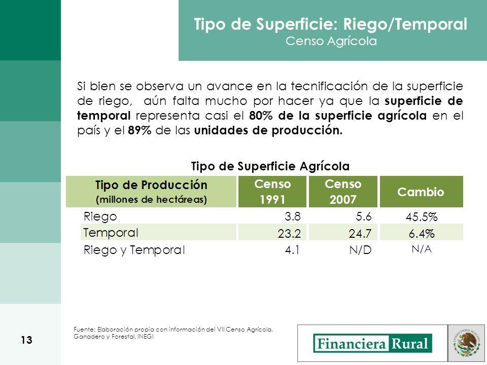 Tipo de Superficie: Riego/Temporal Censo Agrícola Si bien se observa un avance en la tecnificación de la superficie de riego, aún falta mucho por hacer ya que la superficie de temporal representa casi el 80% de la superficie agrícola en el país y el 89% de las unidades de producción.