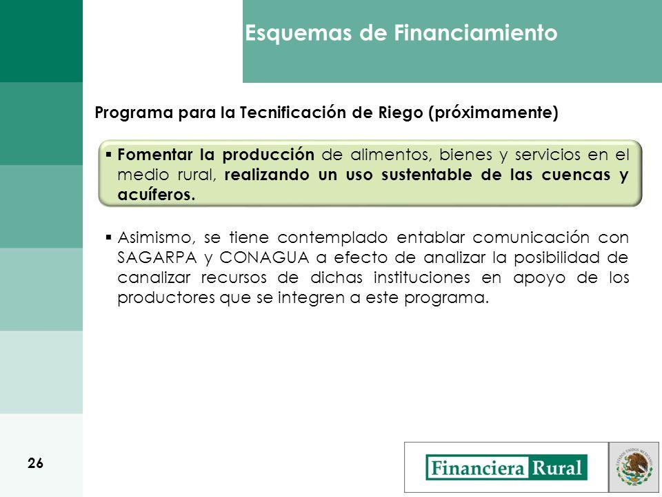 Esquemas de Financiamiento Fomentar la producción de alimentos, bienes y servicios en el medio rural, realizando un uso sustentable de las cuencas y acuíferos.