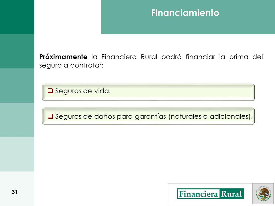 Próximamente la Financiera Rural podrá financiar la prima del seguro a contratar: Seguros de vida.