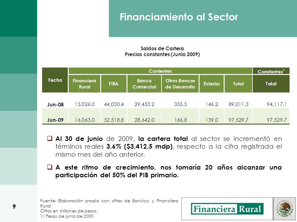 Fuente: Elaboración propia con cifras de Banxico, y Financiera Rural Cifras en millones de pesos.