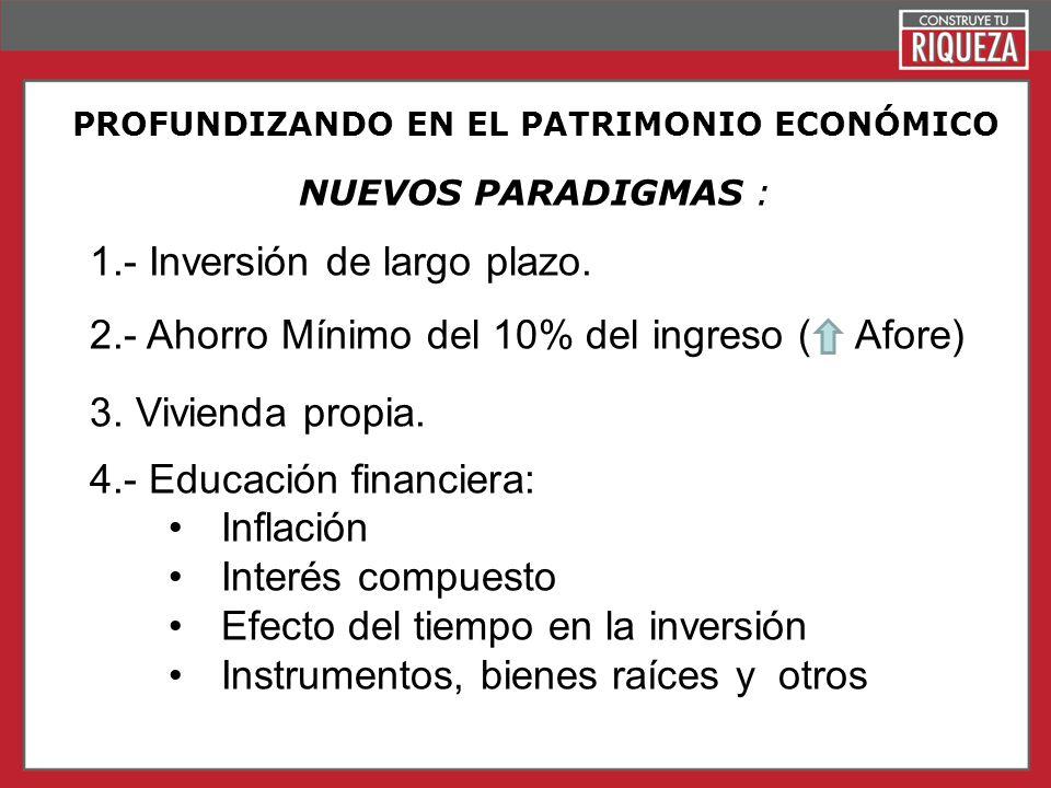 Page 13 PROFUNDIZANDO EN EL PATRIMONIO ECONÓMICO NUEVOS PARADIGMAS : 1.- Inversión de largo plazo. 2.- Ahorro Mínimo del 10% del ingreso ( Afore) 3. V